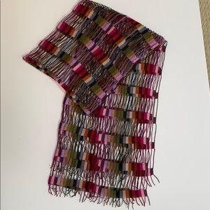 Lacy woven scarf multi color silky unique wrap